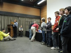 The Scouts are given the honour of helping the Club draw the door prize tickets for the night.