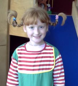 Yvonne verkleidet als Pipi Langstrumpf