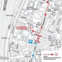 Je nach Bauabschnitt gelten einer oder beide der eingezeichneten Wege als Zufahrt zum Klinikum Mutterhaus der Borromäerinnen. Karte: SWT - 5VIER