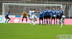 20131012 SSV Ulm - Eintracht Trier, Regionalliga Suedwest, Abwehr, Hollmann, Spang, Buchner, Foto:www.5vier.de - 5VIER
