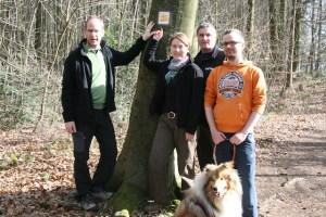Liane Jordan vom Deutschen Wanderverband und ihr Team, v.l.: Rolf Spittler, Liane Jordan, Dirk Zimmermann, Manuel Prasuhn