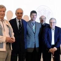 v.r.: Prof. Dr. Arnd Morkel (1975 bis 1987), Prof. Dr. Peter Schwenkmezger (2000 bis 2011), Michael Jäckel (seit 2011), Prof. Dr. Jörg Hasler (1987 bis 1995),  Prof. Dr. Wolfgang Kühlwein (1970 bis 1972), Foto: Universität Trier - 5VIER