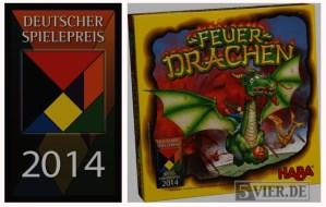 Das Logo des Deutschen Spiele Preises und die Schachtel von Feuerdrachen