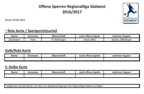 Offene Sperren 2016/2017, Bild: Regionalliga Südwest