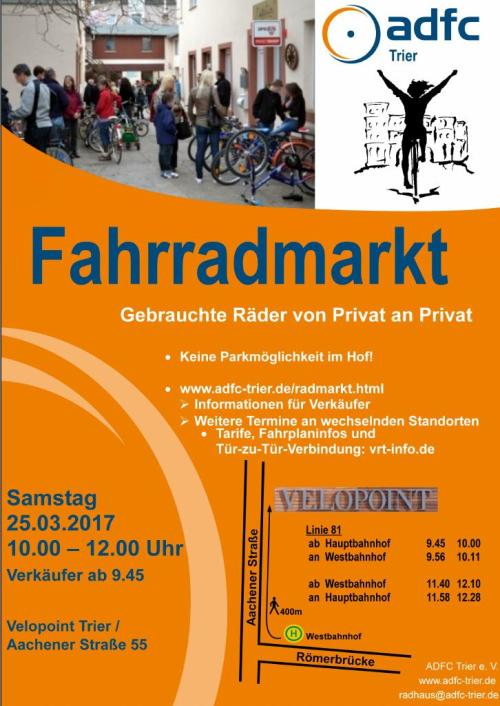 Plakat des Gebrauchtradmarktes Trier, Foto: ADFC Kreisverband Trier