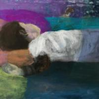 Jin-Sook Chun, o.T., 2016, Pigment auf Leinwand, 95 x 85 cm - 5VIER