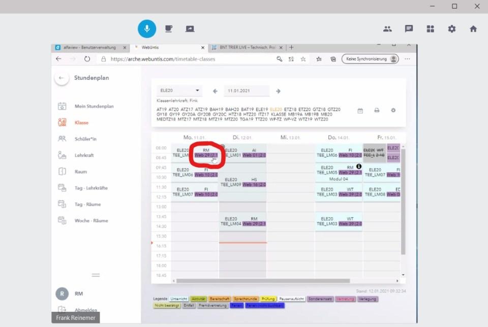 Im digitalen Stundenplan können die SchülerInnen jetzt auch den virtuellen Klassenraum (rot markiert) erkennen. Bildquelle: privat