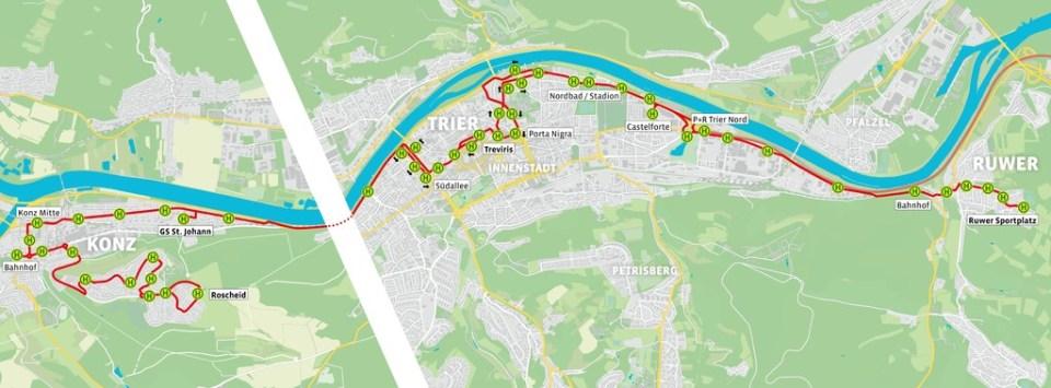 SWT - Linienverlauf Buslinie 9 - Trier Ruwer bis Konz Roscheid - Quelle: SWT