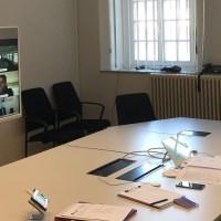 OB Wolfram Leibe (rechts) bei der Videokonferenz mit den Kollegen aus den anderen Oberzentren in Rheinland-Pfalz. Foto: OB-Büro Trier