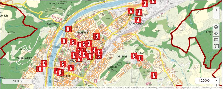 Das Bild zeigt eine Karte mit den Corona-Testzentren in Trier. Bild: www.trier.de