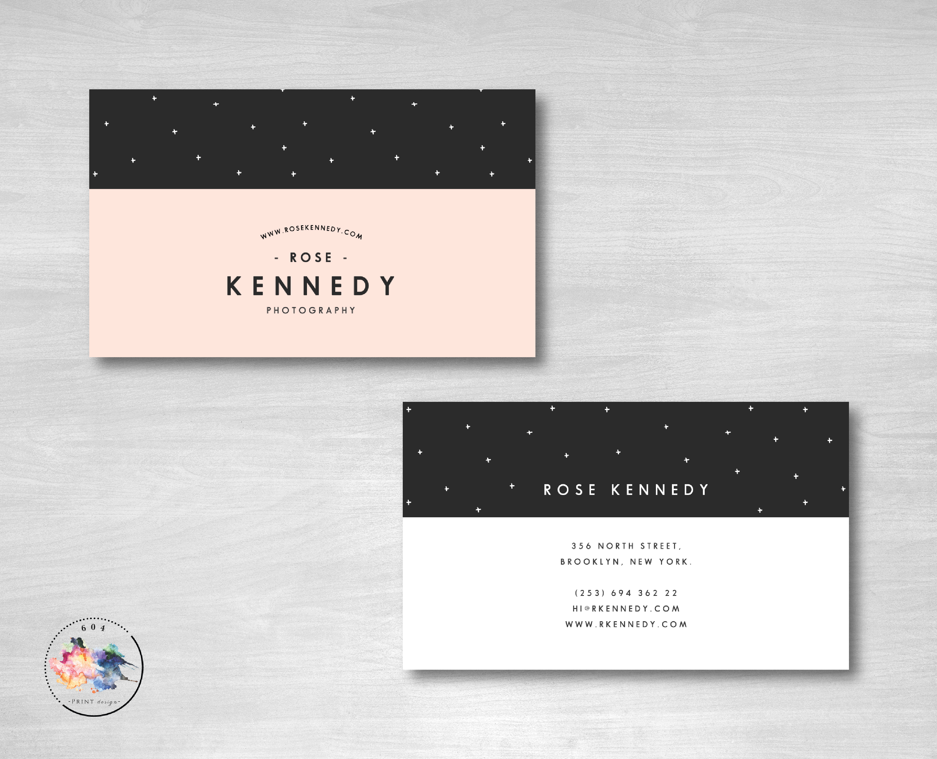 Modern feminine business cards black peach white reheart Image collections