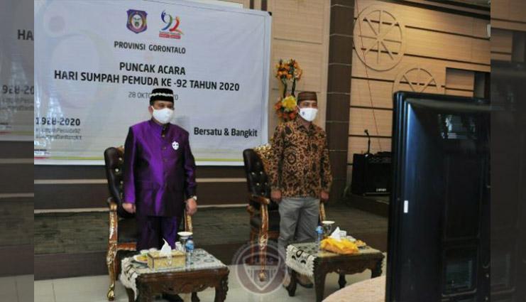 Wakil Gubernur Gorontalo Ikuti Puncak Peringatan Hari Sumpah Pemuda Ke – 92 Secara Virtual