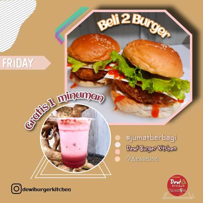 Promo Beli 2 Burger Gratis 1 Minuman di Dewi Burger Kitchen