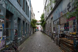Bremen; Alleyway in the Viertel with grafitti and overgrown transparents