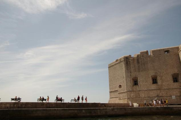 Pier and watchtower at the city port in Dubrovnik