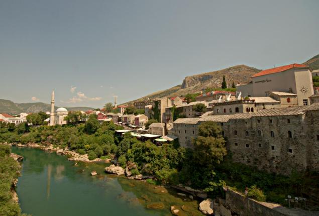 Panorama of the old town in Mostar.
