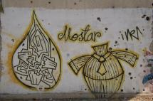 Grafitti of a headless body in Mostar. The shape on the left looks vaguely like the logo of Al Jazeera but shows 2 people conversing excitedly.