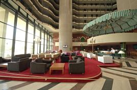 Lobby of the Hotel Holidy Inn in Sarajevo. Built for 1984 winter olympics it was home to many juornalists in wartime, not it sits more or less empty, with the occasional exception of some movie shoot.