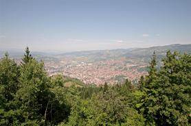 Panoramic view from the top of the olympic mountain a mere 20 minute car ride from the city center.