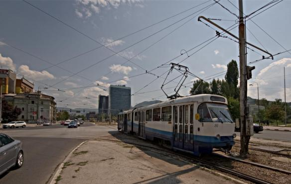 I just loved these old trams, most of them are in their second or even third incarnation and sometimes still have stickers from far-away places like Sweden or France. They didn't even bother with a consistent color scheme, so they all have different appearance depending on where Sarajevo got them from originally.