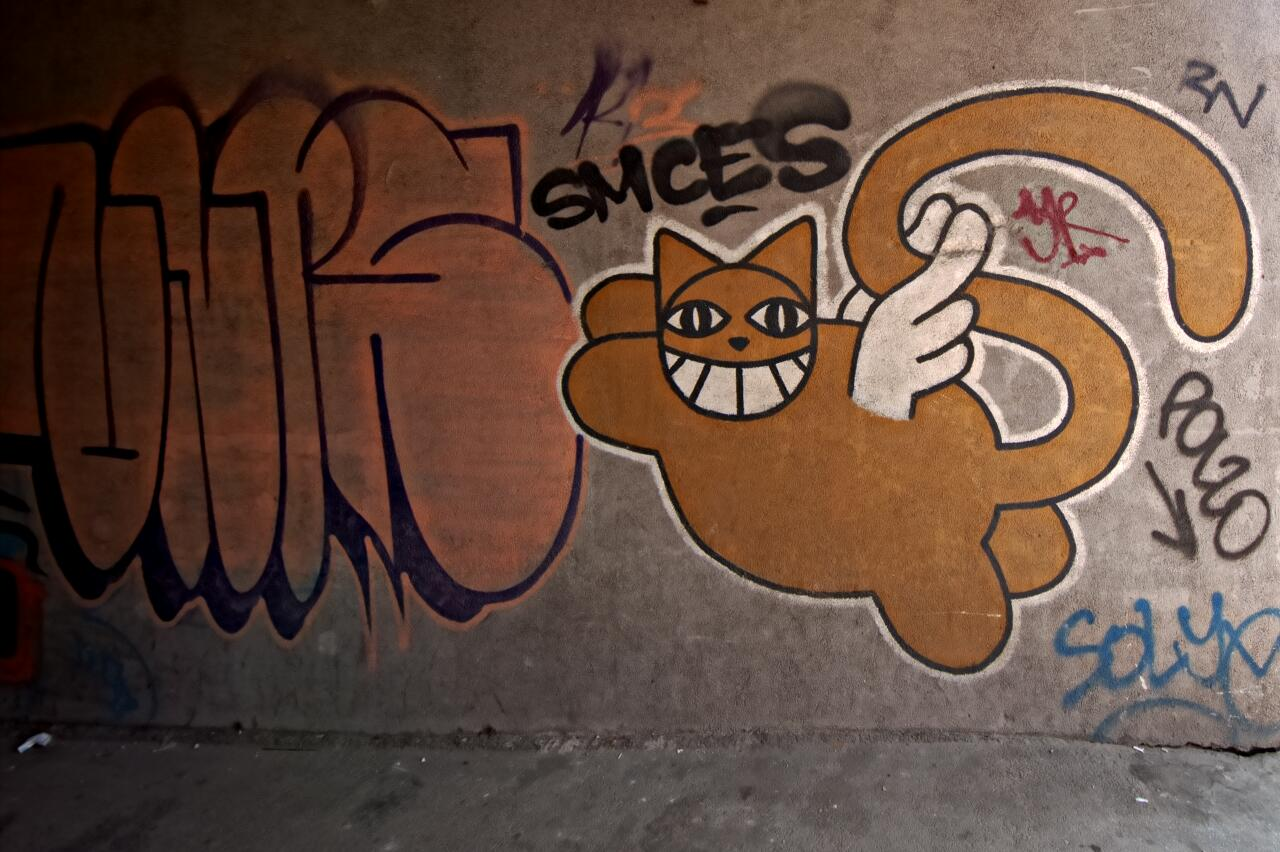 M Chat a french streetartist paid a visit to Sarajevo in 2011 and left quite a few of these friendly felines