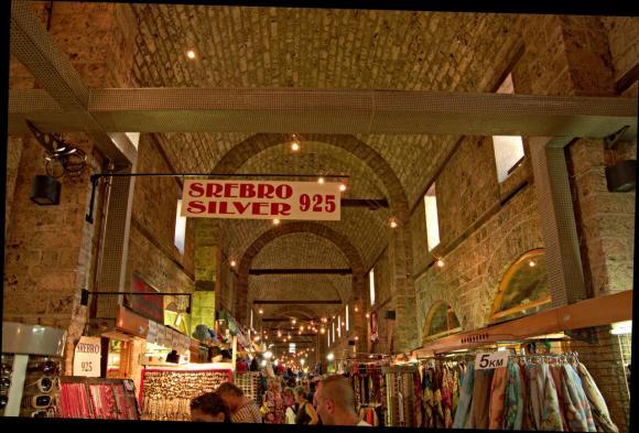 Old ottoman caravanserai turned market in the old town of Sarajevo