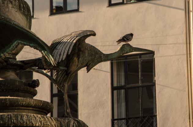 The stork fountain (Storkespringvandet) is in the heart of one Europ's biggest shopping districts.