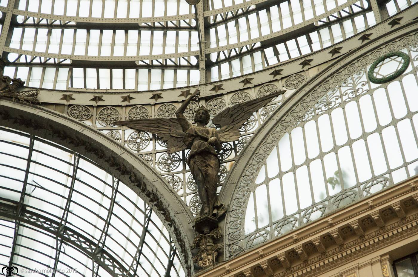 "Angel in the Interior of the historic ""shopping-mall"" Galleria Umberto I in Naples"