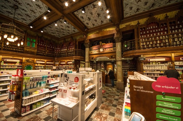 Interior of Apotek Lejonet, a centuries old pharmacy in the centre of Malmö