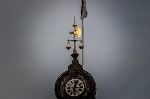 golden axe on spire of Malmö townhall