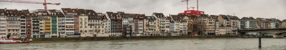 Stitched panorama of Basel's riverside