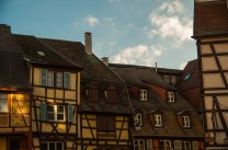 Light and shadow playing on the half-timbered houses of Colmar.