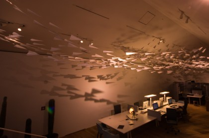 The 100s of paper planes in the Vitra Design Centre create a mesmerizing feeling of constant movement.