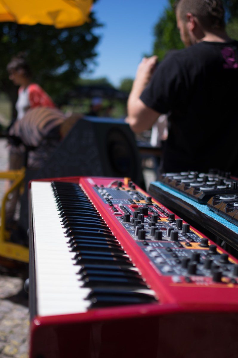 Closeup of Andy V's keyboard on a concert in Mauerpark,Berlin
