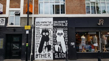 mural in London Black and white owls