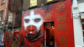 wariior with war paint by Dale Grimshaw in London, Eastend.