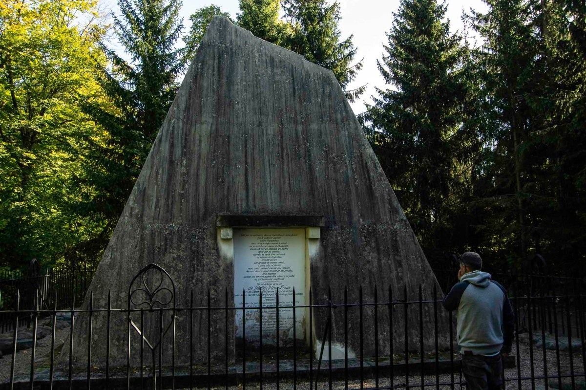 Tomb in shape of a small pyramid/mountain for prnce Henry of Prussia in the gardens of Rheinsberg Castle