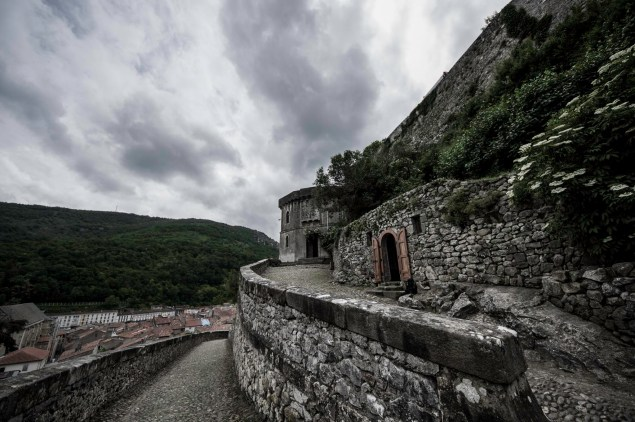 Menacing cloudscape over the Foix castle barbican