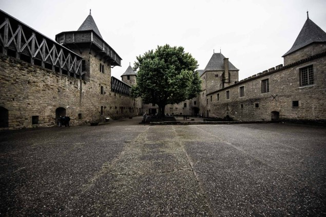 Courtyard in the medieval castle of Carcassonne in France