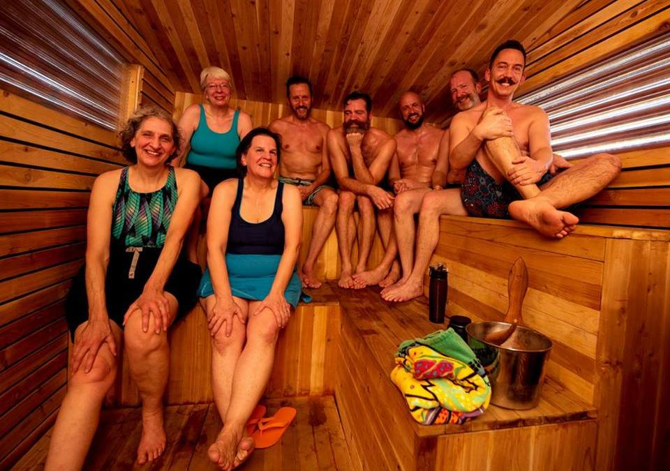 Gather your group at Little Box Sauna…