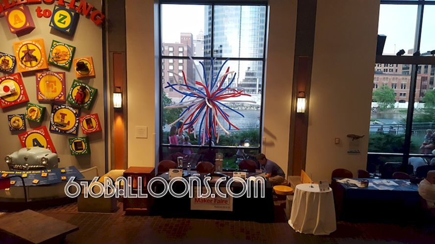 Firework balloon column at Grand Rapids Public Museum by 616Balloons.com Grand Rapids, Michigan. Premium balloon art & decor. Corporate events, private parties..