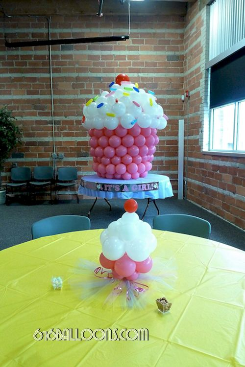 Baby shower cupcake balloon centerpiece and giant balloon cupcake sculpture by 616Balloons.com Grand Rapids, Michigan. Specializing in high end balloon art & decor for the best corporate or private parties and events in West Michigan.