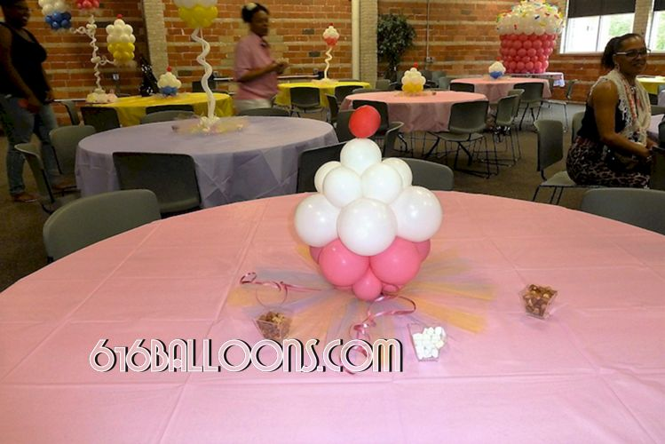 Baby shower cupcake balloon centerpiece by 616Balloons.com Grand Rapids, Michigan. Specializing in high end balloon art & decor for the best corporate or private parties and events in West Michigan.