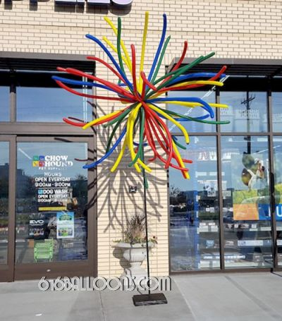 Firework balloon columns at Chow Hound Pet Supplies Grand Opening by 616Balloons.com Grand Rapids, Mi. Premium balloon art & decor. Corporate events, private parties..