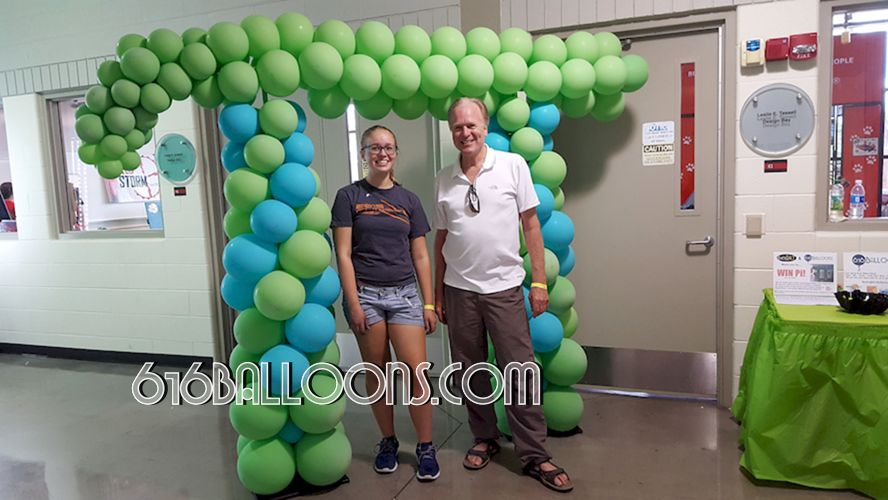 Winners of the Pi symbol balloon sculpture for Maker Faire giveaway at GVSU by 616Balloons.com Grand Rapids, Mi. Premium balloon art & decor. Corporate events, private parties..