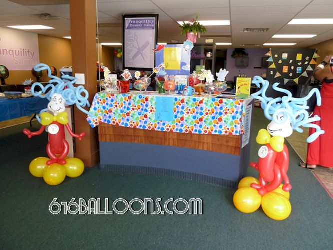 Dr. Suess themed baby shower Thing 1 & 2 balloon sculptures by 616Balloons.com Grand Rapids, Michigan. Specializing in high end balloon art & decor for the best corporate or private parties and events in West Michigan.