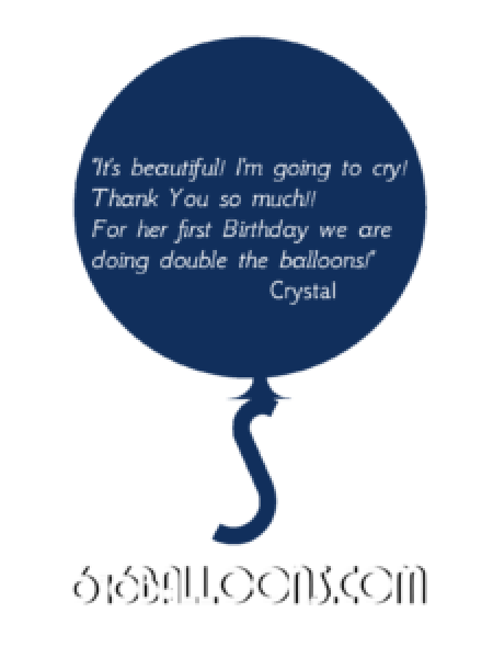 "Crystal testimonial ""It's beautiful! I'm going to cry!"" 616 Balloons"