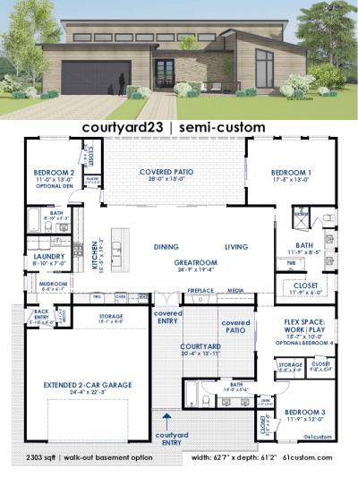 courtyard23 Semi-Custom Home Plan | 61custom ...