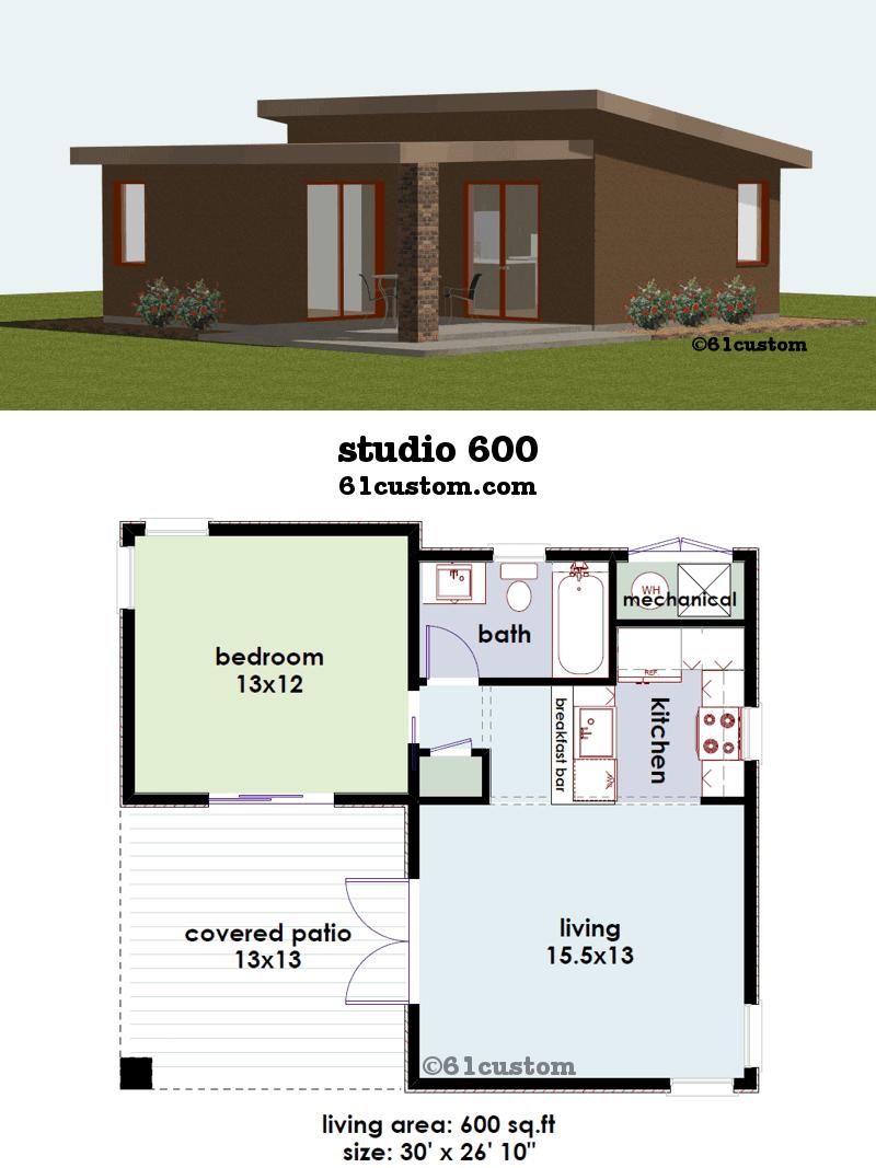 Studio600 Small House Plan 61custom Contemporary