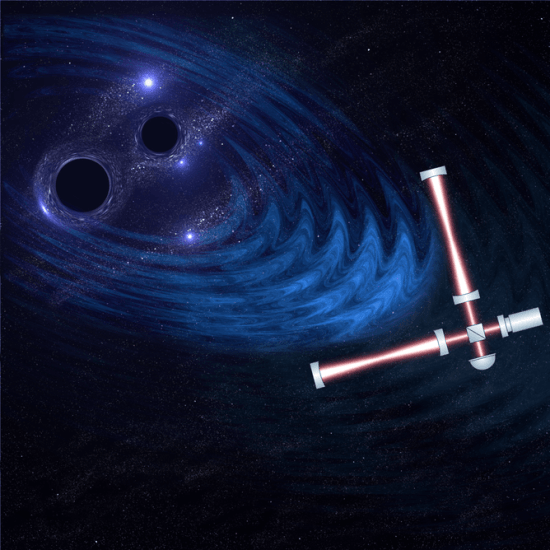 The LIGO detectors are sensitive to the minute ripples in space-time caused by the merging of two black holes. University of Birmingham Gravitational Waves Group, Christopher Berr